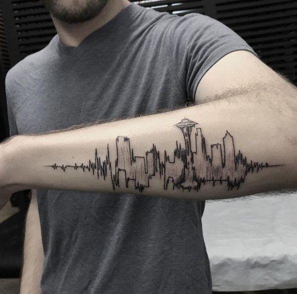 Seattle skyline/ EKG heartbeat concept. Done by Turan at Bang Bang NYC. - Imgur   tatuajes | Spanish tatuajes  |tatuajes para mujeres | tatuajes para hombres  | diseños de tatuajes http://amzn.to/28PQlav