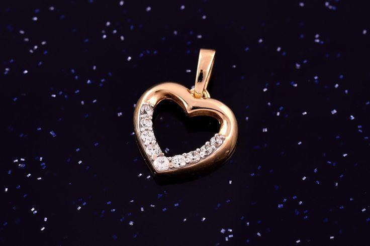 Zlatý přívěsek srdce se zirkony P053 1,20g