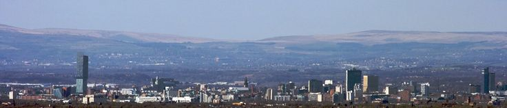 Manchester city centre skyline from the south west in March 2009. Notable buildings from left to right include the Beetham Tower, City Tower and CIS Tower. The West Pennine Moors can be seen in the background.
