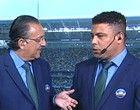 Galvão Bueno e Ronaldo comentarista da Globo no jogo de Brasil e Uruguai em Belo Horizonte. 26/06/2013.