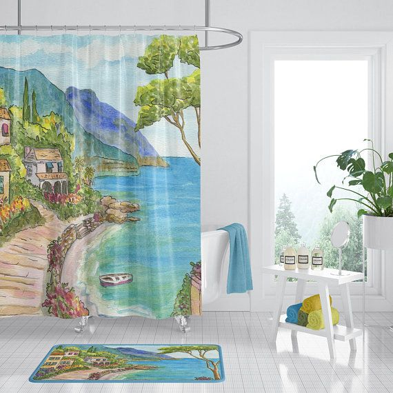 Seaside Town Shower Curtain Mediterranean Scene Fabric