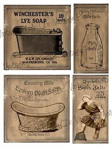 Free Prim Labels | Primitive Farmhouse Milk Bath Labels Set FH70 | eBay