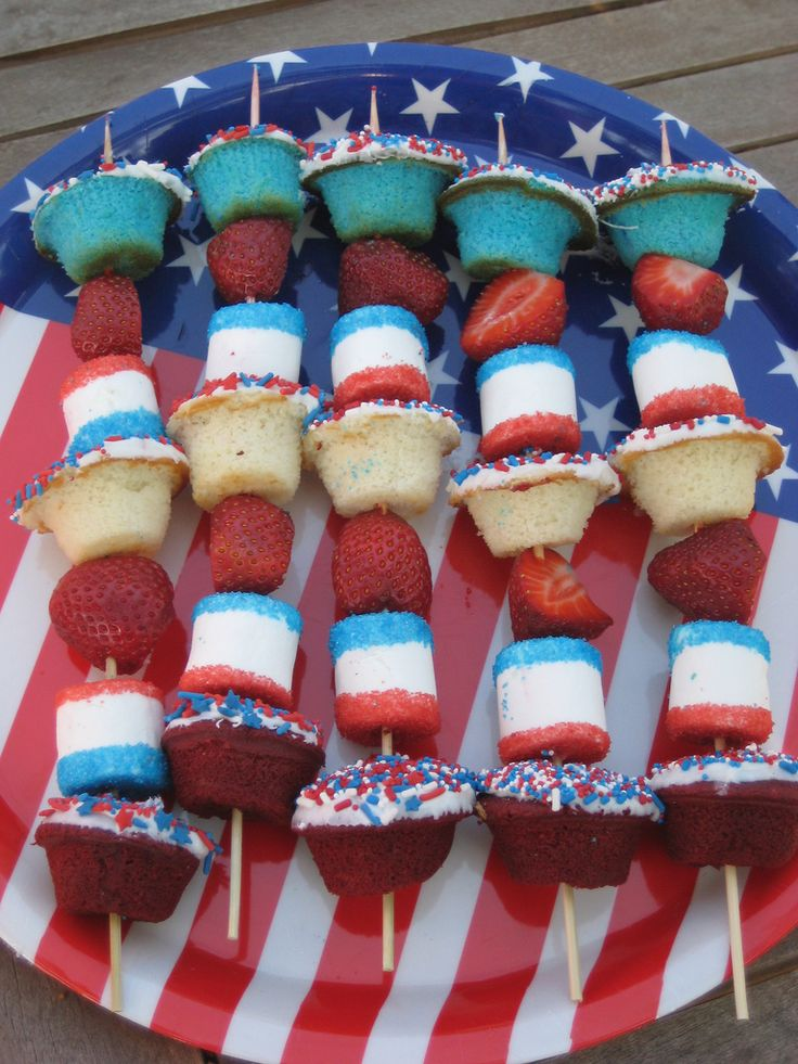 Red, White, and Blue Dessert Kabobs- I think I would add some blueberries next to the strawberries.