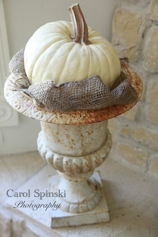 White pumpkins-simple centerpiece, a fall country wedding
