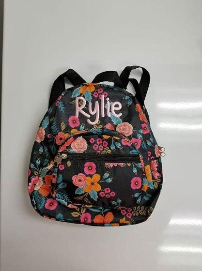 Monogrammed Mini Toddler backpack - Black and Pink Floral Baby Girl Personalized  Backpack d048e8befc608