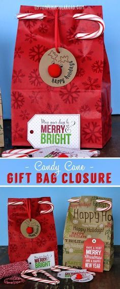 Wrap It Up! Easy Candy Cane Gift Bag Closure for Christmas gifts. What a fun gift wrapping idea!