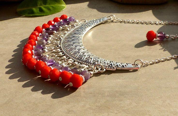 Collier en perles d'améthyste, collier améthyste et cristal, collier améthyste, collier violet et orange, collier en améthyste : Collier par lapassiondisabelle