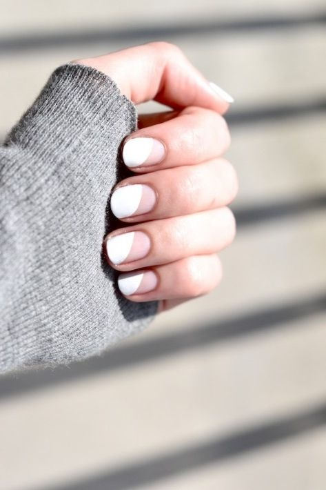 White and geometric nails.