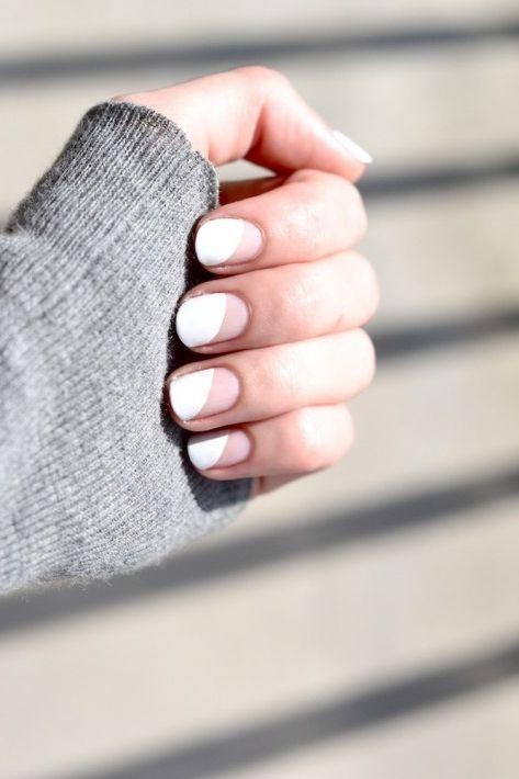 white minimalistic nail art
