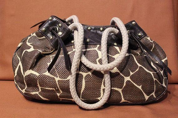 Sac à main vintage, sac à main paille, cuir vegan, imprimé giraffe, grand sac à main, saccoche paille, sac tressé, sac à main brun