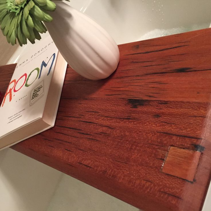 Bathtub tray made from Ipe hardwood reclaimed from bridge over 100 years old.