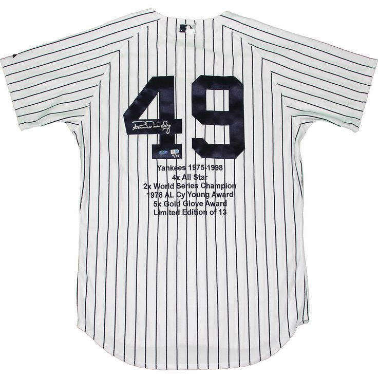 Ron Guidry Signed Authentic Yankees Pinstripe Jersey w Embroidered Stats (LE13)(MLB Auth) - Yankees great Ron Guidry has personally hand-signed this authentic Yankees Pinstripe jersey with embroidered stats.Limited Edition of 13MLB Authenticated100% Guaranteed AuthenticIncludes Steiner Sports Certificate of Authenticity Features Tamper-Evident Steiner Hologram. Gifts > Licensed Gifts > Mlb > New York Yankees. Weight: 2.00