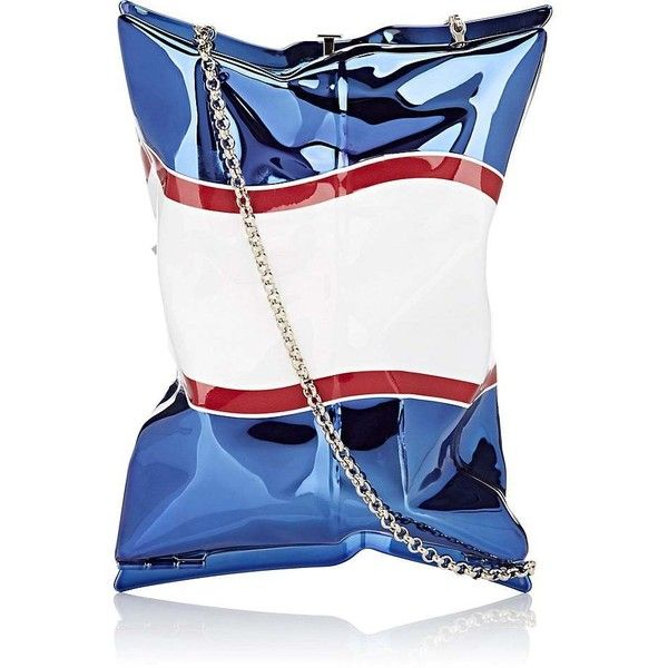 Anya Hindmarch Women's Crisp Packet II Clutch (£820) ❤ liked on Polyvore featuring bags, handbags, clutches, white purse, anya hindmarch, chain strap purse, anya hindmarch handbags and bow handbags