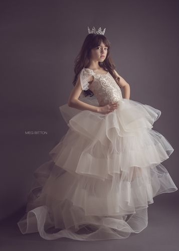 Ivory layered tutu dress - SS2015 Collection Anna Triant Couture - modern flower girl - off white tutu dress - horsehair braid