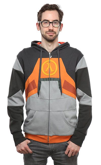Take hold of that crowbar and start swinging with our Half-Life 2 HEV Suit Hoodie. Instead of protecting you from most acids and radiation, this one protects you from cold, wind, and trace amounts of water.