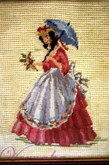 0 point de croix femme ombrelle  - cross stitch lady with parasol
