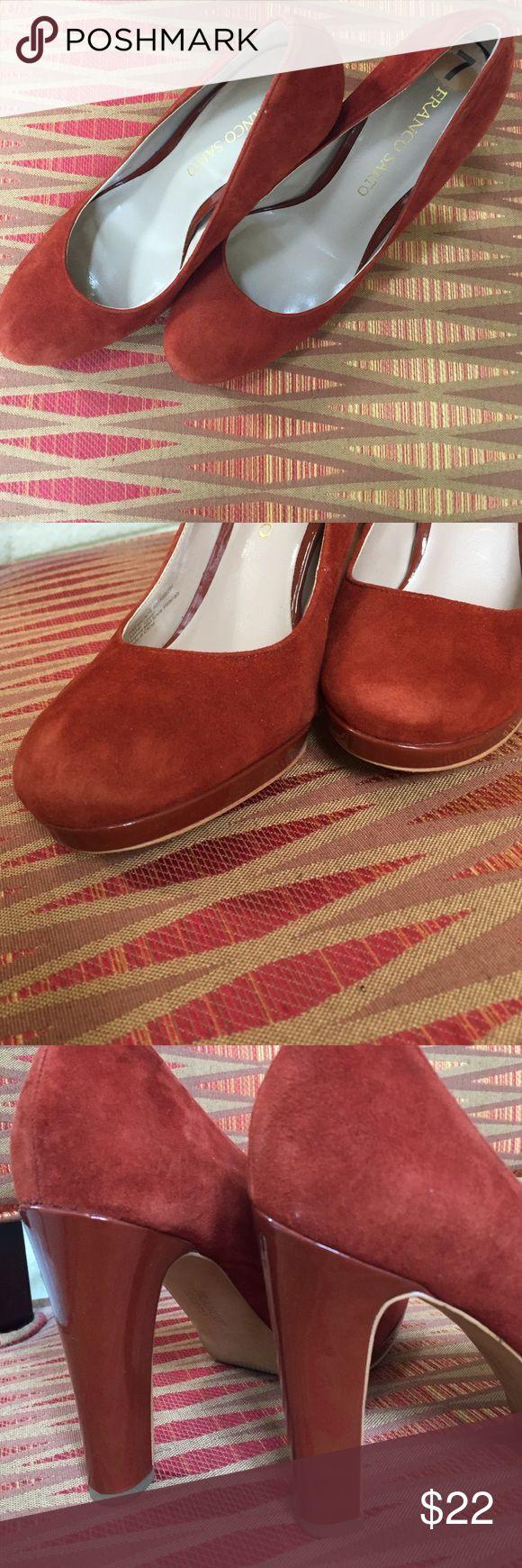 Franco Sarto Platform Shoes 👠. Gentlely worn. Suede Burnt orange platform shoes size 7. Half inch platform 3 inch heel. Gently worn. Franco Sarto Shoes Platforms