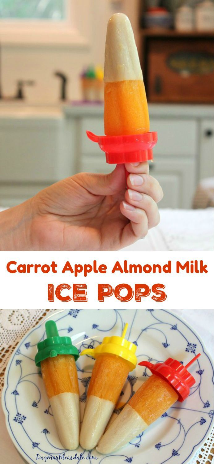 """Here is one way to stay cool and """"eat"""" your veggies: make Carrot Apple Almond Milk Ice Pops. Dagmar's Home, DagmarBleasdale.com"""