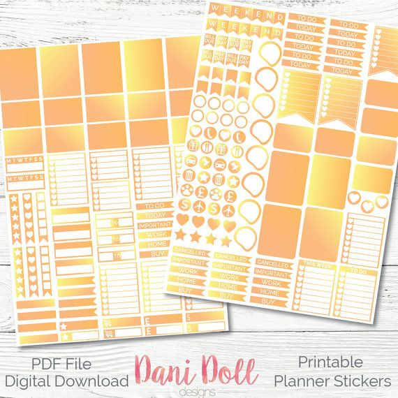 Sunshine 2 Tone Weekly Planner Stickers Colorful 2 Sheets PDF Instant Download Erin Condren Mambi Printable Sticker Pack by danidolldesignsx