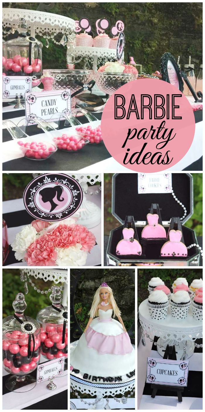 A beautiful black, white and pink Barbie girl birthday party with elegant decorations and delicious treats! See more party ideas at CatchMyParty.com!