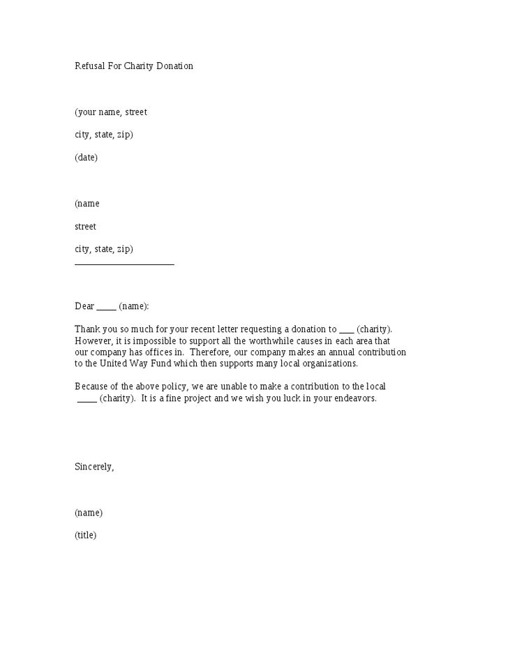 refusal for charity donation letter template hashdoc thank you - refusal letter