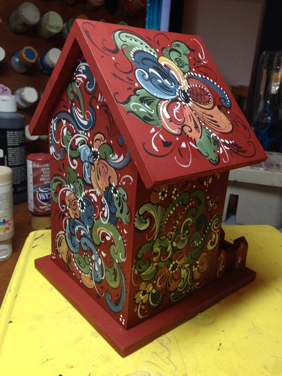 Norwegian Rosemaled bird house by OlsenTrademarkCrafts on Etsy
