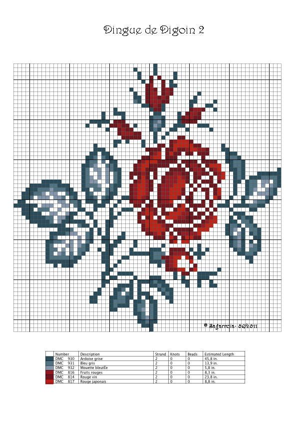 free cross stitch rose chart
