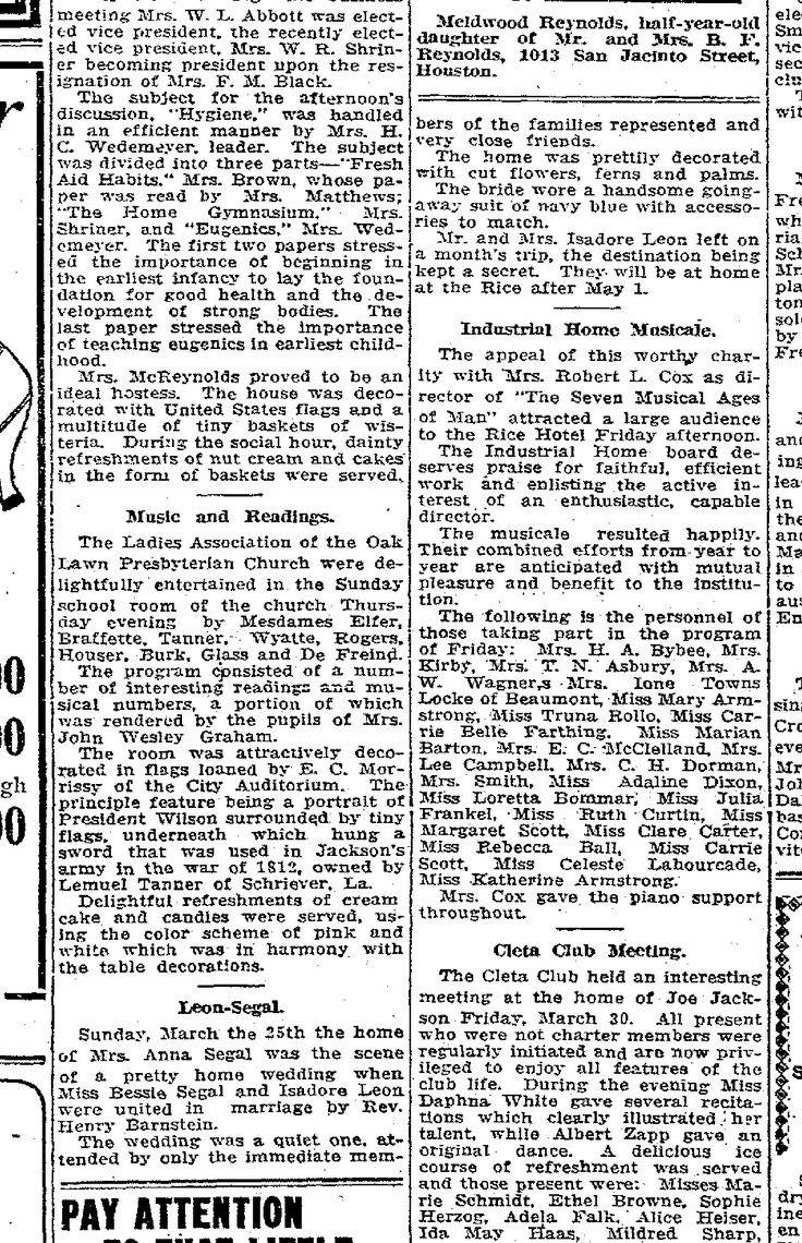 188 best familytree leon images on pinterest leon and phoenix bess segal isadore leon wedding sunday april 1 1917 paper houston chronicle aiddatafo Image collections