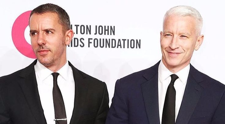 Anderson Cooper and Benjamin Maisani arriving at the Elton John Aids Foundation event in 2015