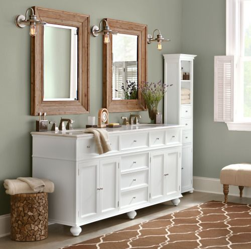 """homedecoratorscollection: """"Love the look of this cottage-style retreat and its mix of natural and painted woods. Hampton Bay Double Bath Vanity / Hampton Bay 15""""W Standard Linen Cabinet / Dawn Wall Mirror / Argonne Area Rug """""""