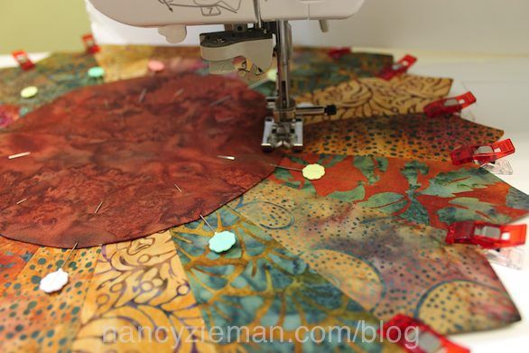 Nancy Zieman Sew an Easy Sunflower from Trace n Create Quilt Template Dresden Collection by Clover