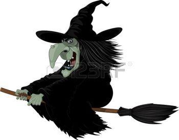 brujas caricatura: Ilustración: Bruja Malvada volando en una escoba Vectores