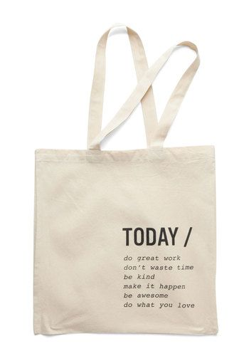 A Way with Verbs Tote - Cotton, Cream, Solid, Travel, Minimal, Sayings, Black, Print, Under $20
