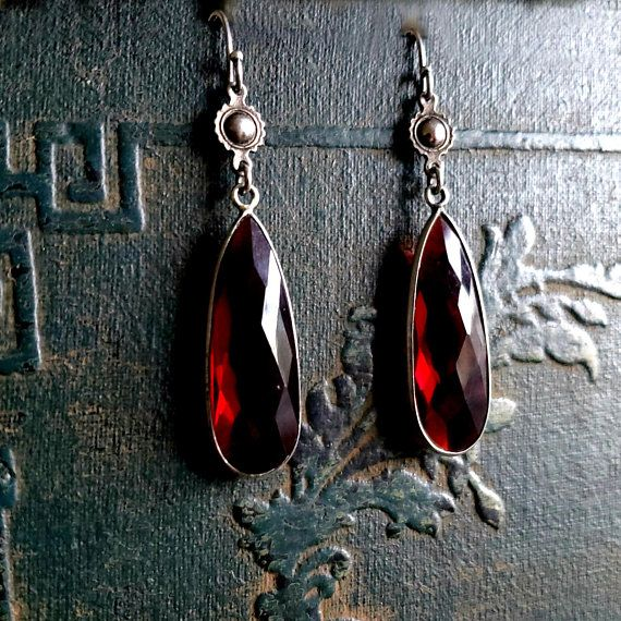 Red Briolette Drop Earrings