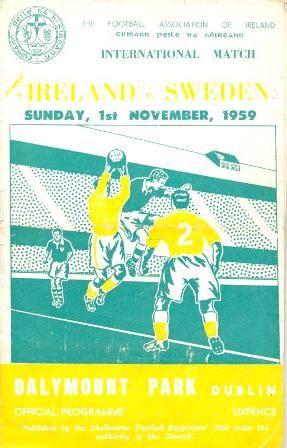 Home game: Ireland v Sweden, 1st November 1959