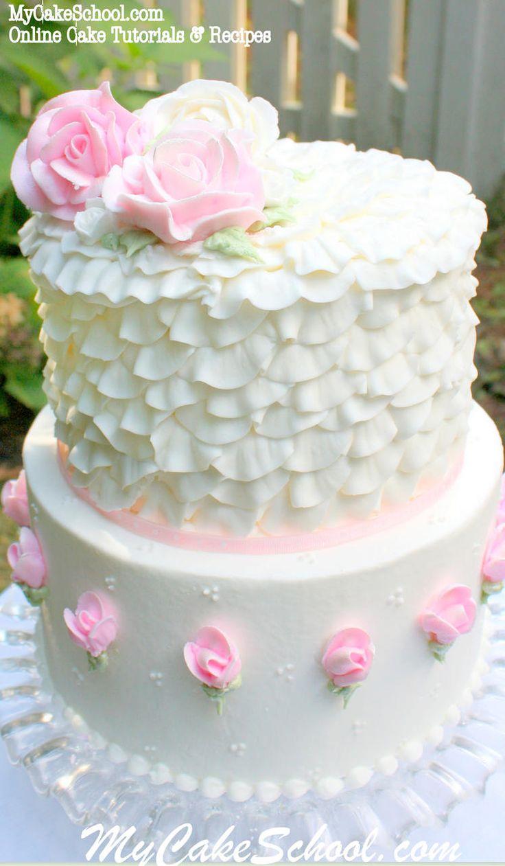 Buttercream Roses & Ruffles! Cake tutorial by MyCakeSchool.com. (Member section) Online Cake Tutorials & Recipes