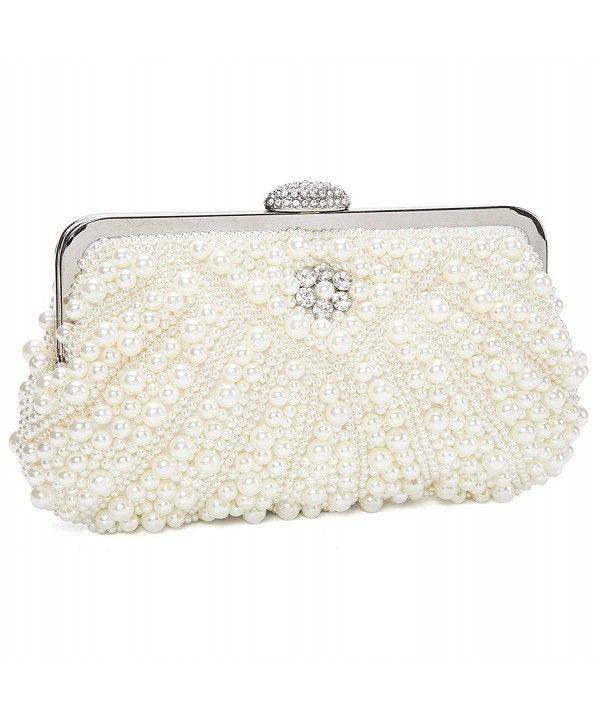 6cd21da23754 Womens Handmade Pearl Bead Rhinestone Evening Clutch Bags For ...