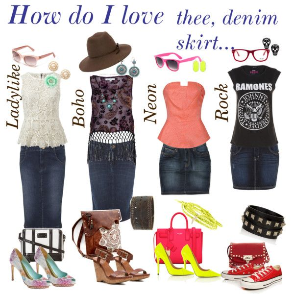 """""""Denim skirts, 4 ways"""" by caryvanessa on Polyvore"""