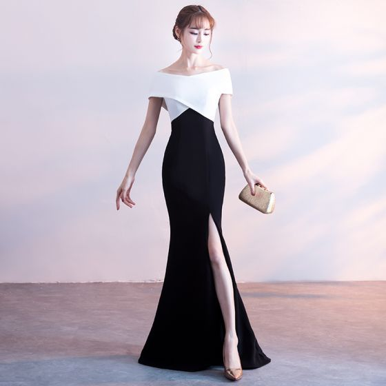 Sexy Evening Dresses 2018 Trumpet / Mermaid Backless Off-The-Shoulder Short Sleeve Floor-Length / Long Formal Dresses