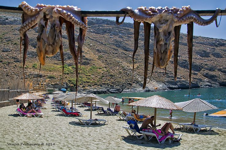 Apothikes beach in Andros island. One (...and more) glass(..es) of Ouzo with delicious octopus on the grill it is the best choice after the Greek sun and the Greek sea!