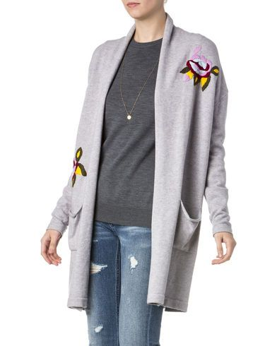 Miss Me Women's Grey Floral Embroidered Sweater - Country Outfitter