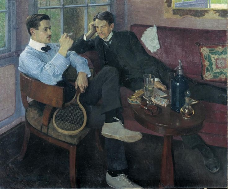 Friedrich Ahlers-Hestermann (1883 - 1973) Young men in the garden pavilion, 1904