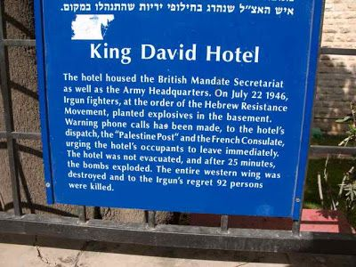 King David Hotel Bombing   On the grounds behind the hotel is a park-like area. You can see some ...