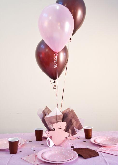 Pink brown baby shower teddy bear balloon centerpiece