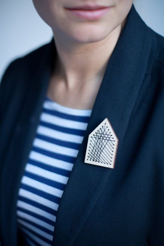 Geometric House.. wooden embroidered brooch by CASASderooij,