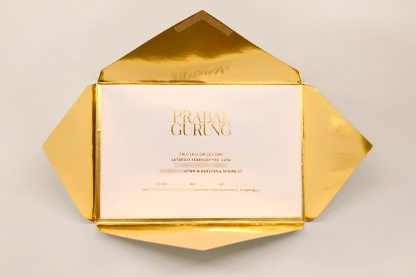 Prabal Gurung Women's F/W 2013 fold-out envelope gold
