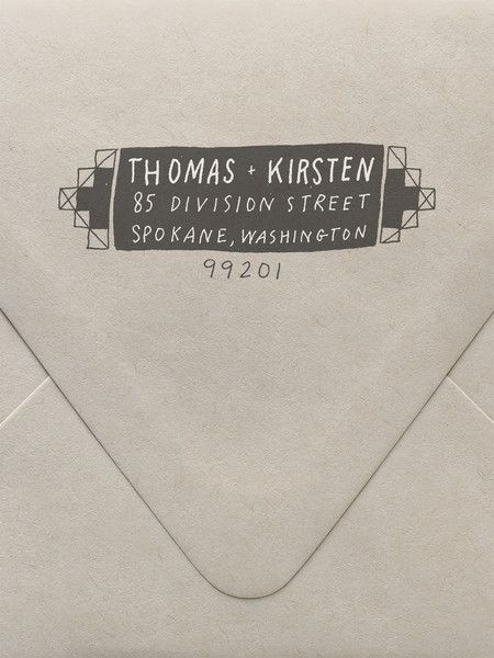 Keep a return address stamp with stamp pad at the ready on your desk... | Geometric Return Address Custom Stamp  | www.sycamorestreetpress.com