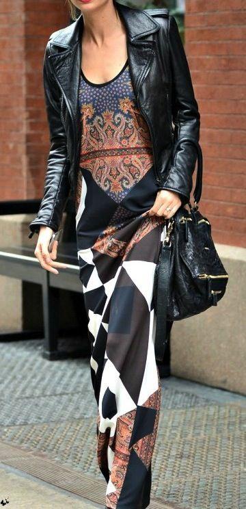 Moto jackets + printed maxi dresses.