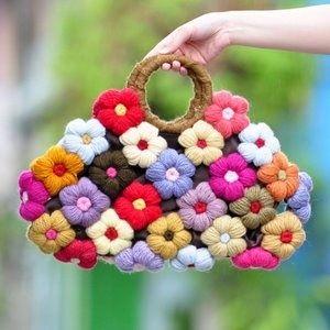 Flower crocheted bag
