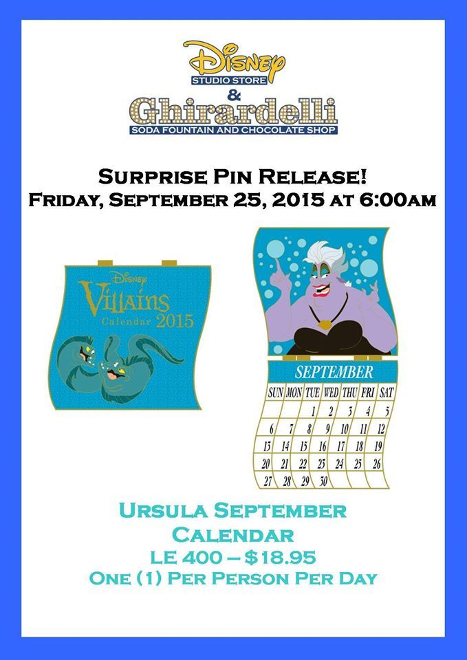 Ursula Calendar Pin Released At The Disney Studio Store